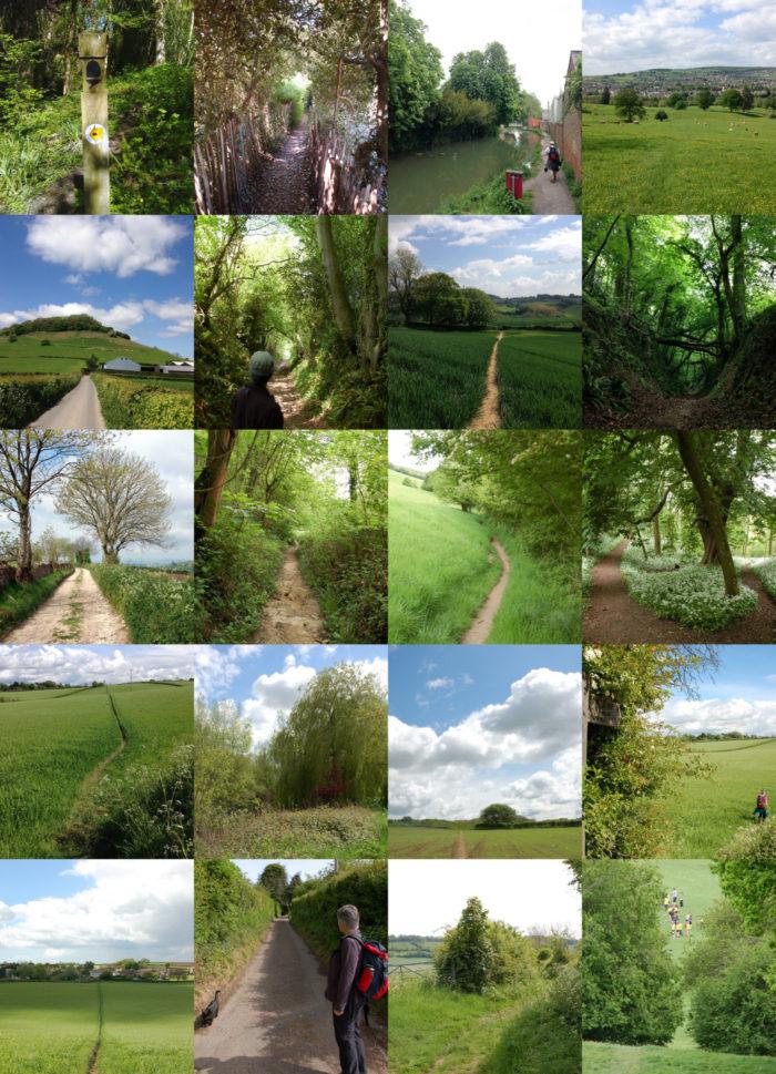 Collage von Wegabschnitten auf dem Cotswold Way