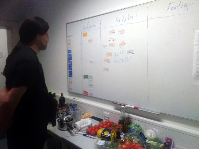 Betrachter vor Wand mit Aufgabenzetteln