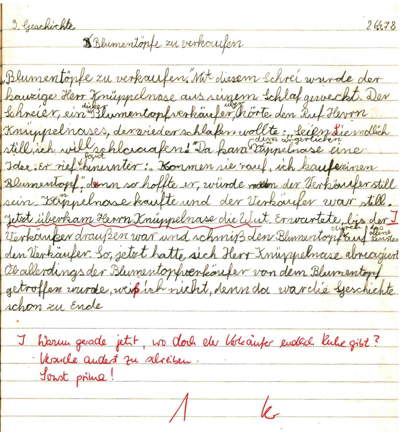 Aufsatz aus der Grundschule