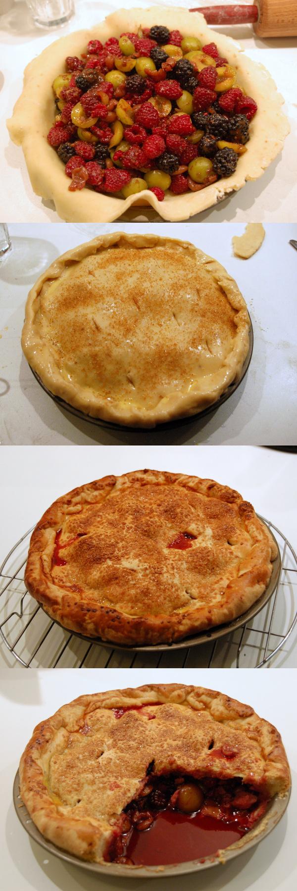 Collage mit Berry Pie in verschiedenen Stadien der Zubereitung