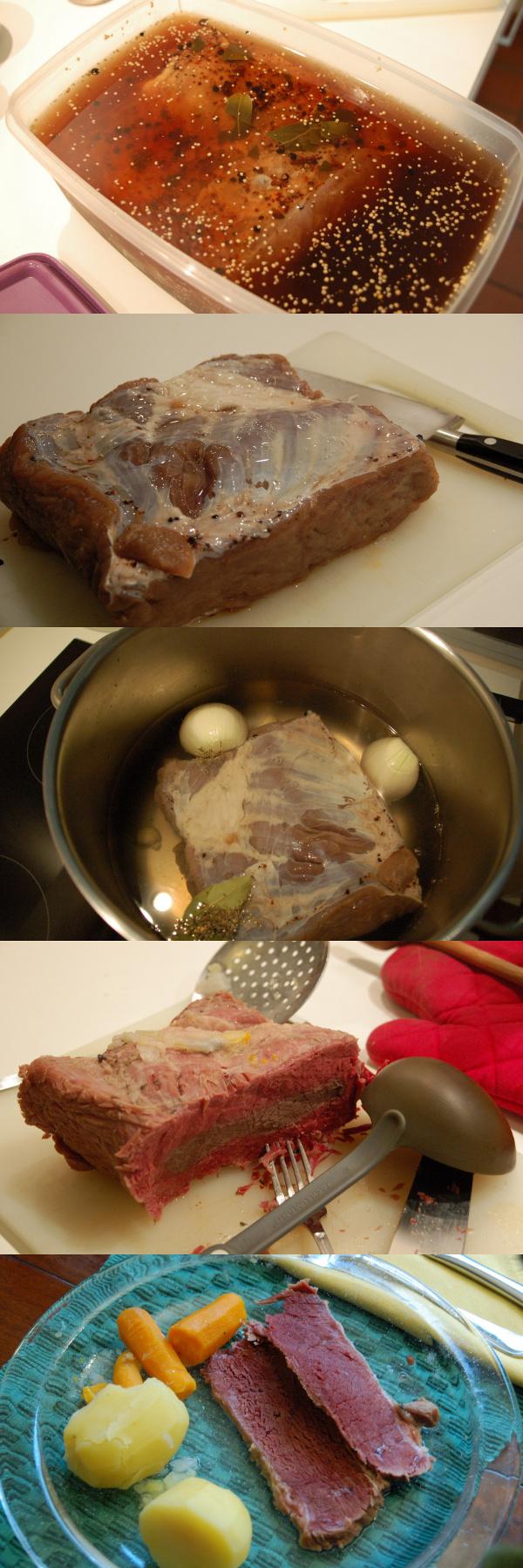 Collage Corned Beef in verschiedenen Stadien der Zubereitung