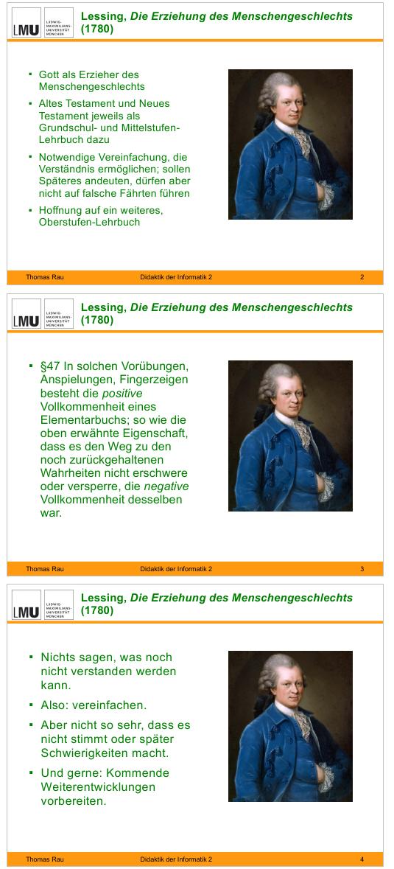 Drei Vorlesungsfolien zu Lessing