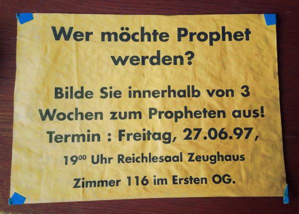Poster: Wer möchte Prophet werden?