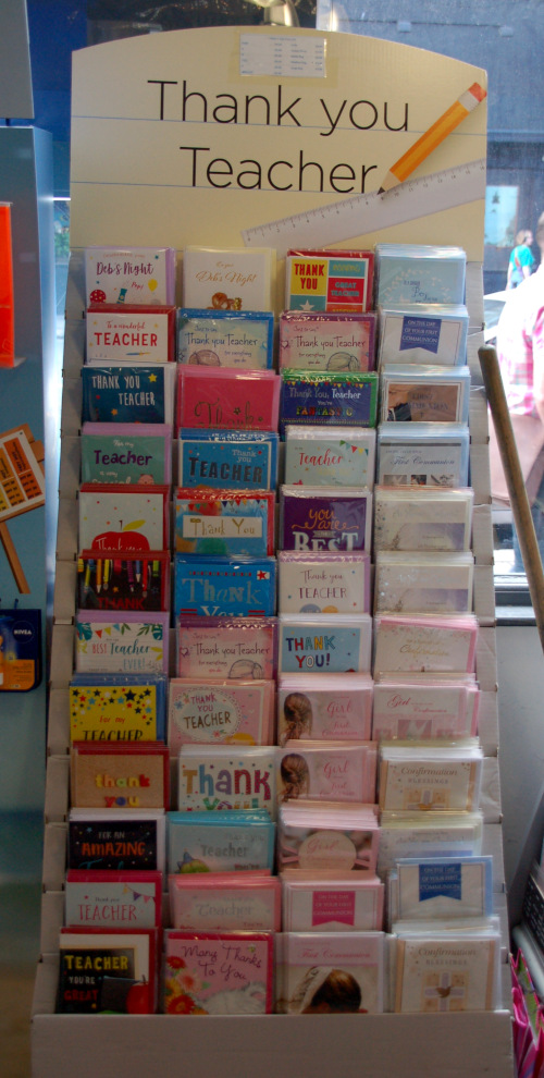 Grußkartenbereich mit Lehrer-Dankeskarten