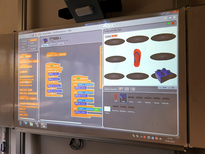 Digitales Whiteboard mit Scratch-Programm